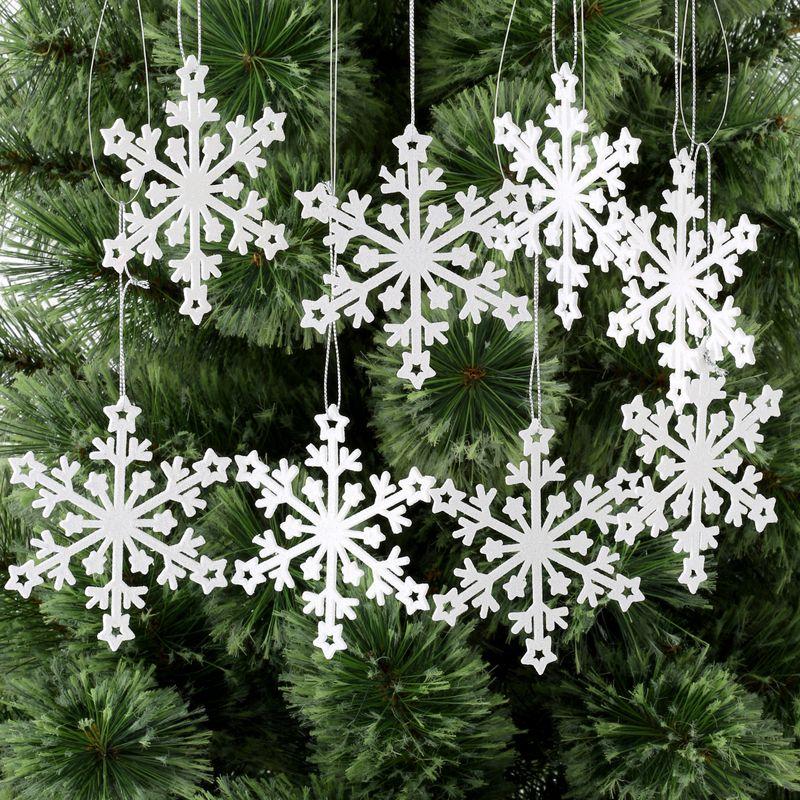 Christmas 8 Pack Glitter Snowflake Ornament White Christmas Tree Decorations Snowflake Ornaments Christmas Ornaments