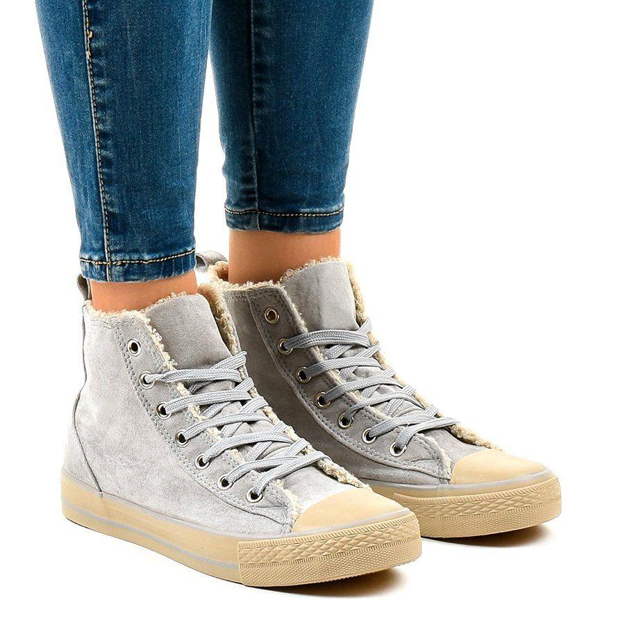 Szare Ocieplane Trampki T 040 Sneakers Shoe Laces Womens Sneakers