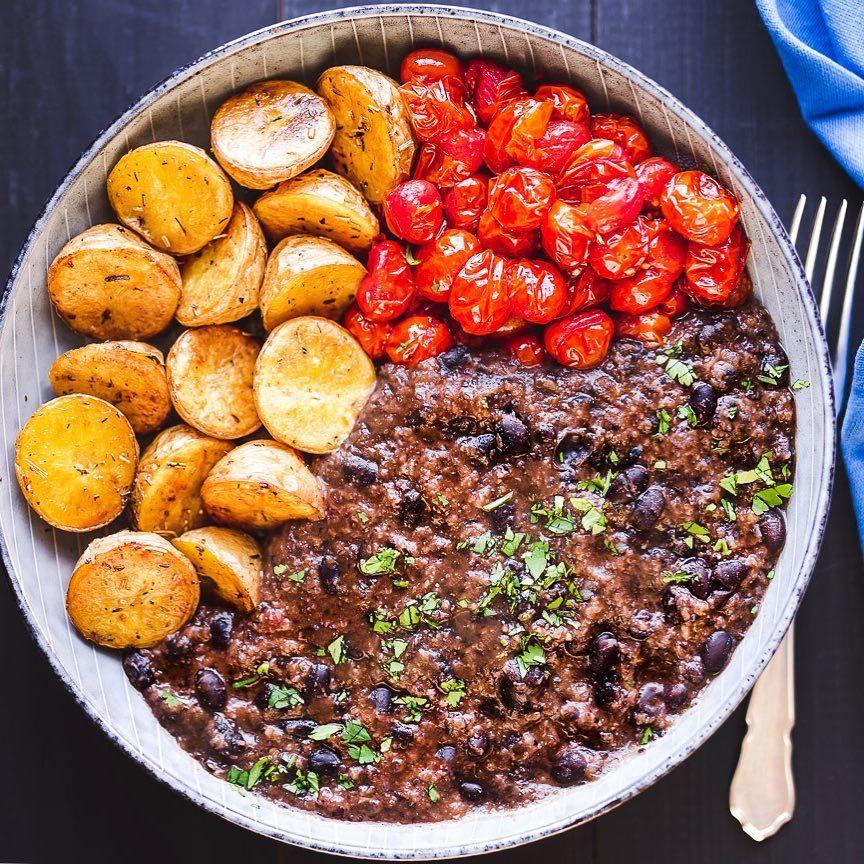 Creamy black beans oven burst thyme grape tomatoes