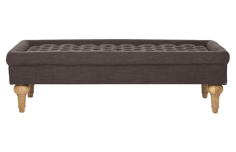 One Kings Lane Luca Bench - Charcoal
