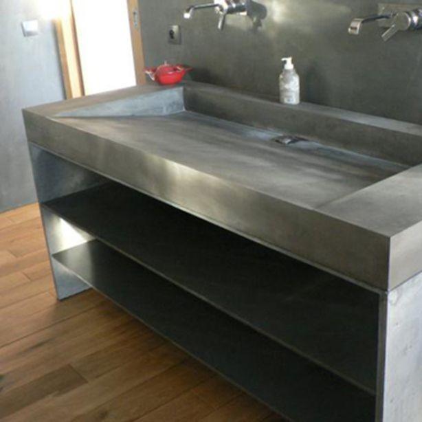 Beton cire wastafel grijs met twee kranen Bathroom Pinterest - peinture beton cire mur