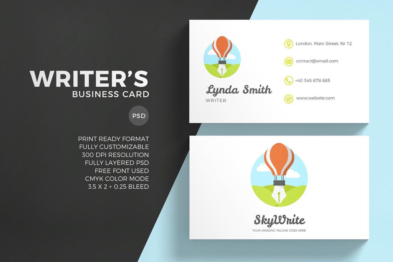 Creative Writing Business Card PSD | Business Card Templates ...