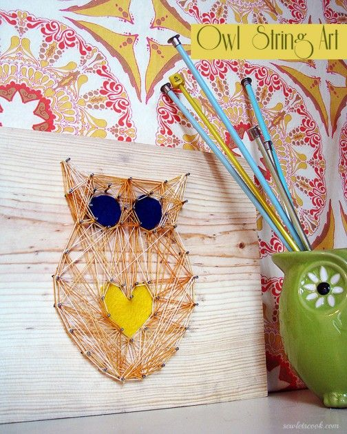 Owl string art for Valentine's Day (or any day). Via Sew...Let's Cook!