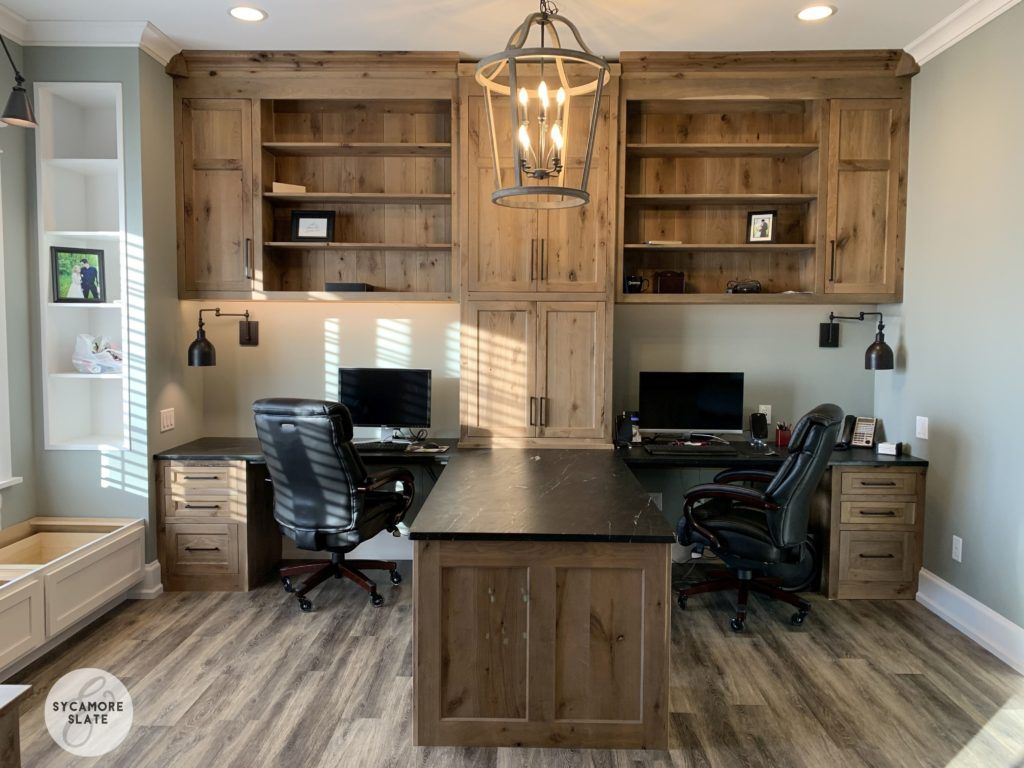 Office With Double Desk And Peninsula In The Center In 2020 Shared Home Offices Home Office Layouts Home