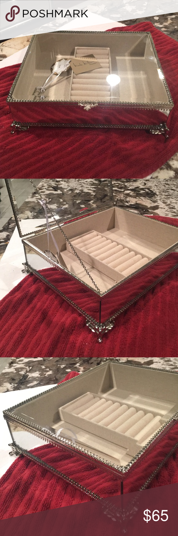 Nicole Miller Jewelry Box Prepossessing Nwt Nicole Miller Mirrorglass Jewelry Box Mirrored Sides Glass Top Decorating Design