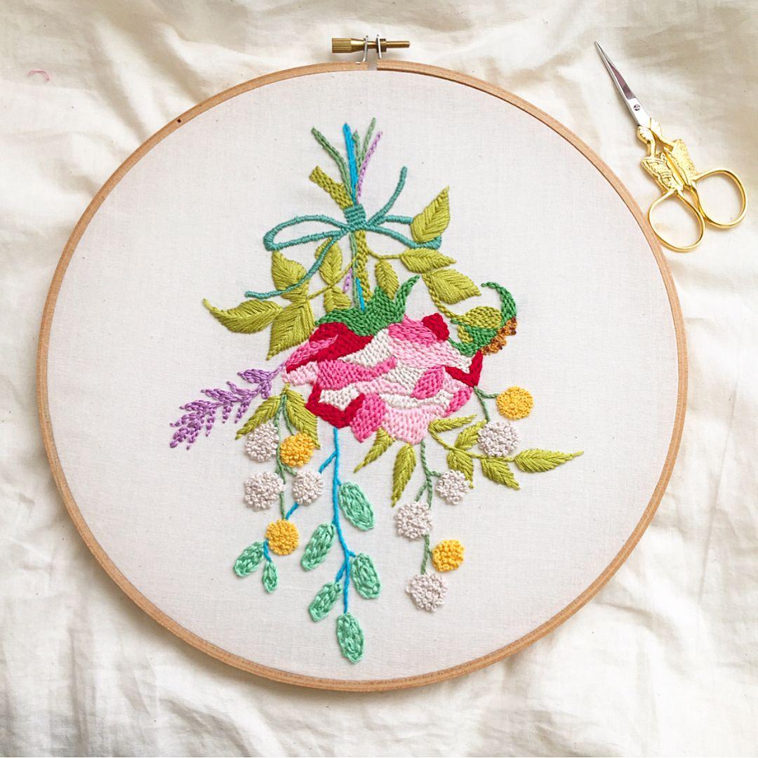 Beautiful hand embroidery by bobbypinbandit using my design