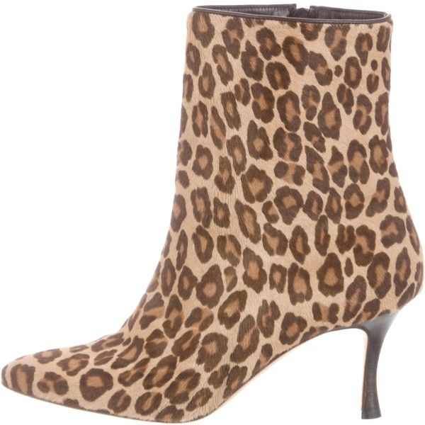 b65e0c659564 Pre-owned Manolo Blahnik Ponyhair Leopard Print Ankle Boots ( 195) ❤ liked  on