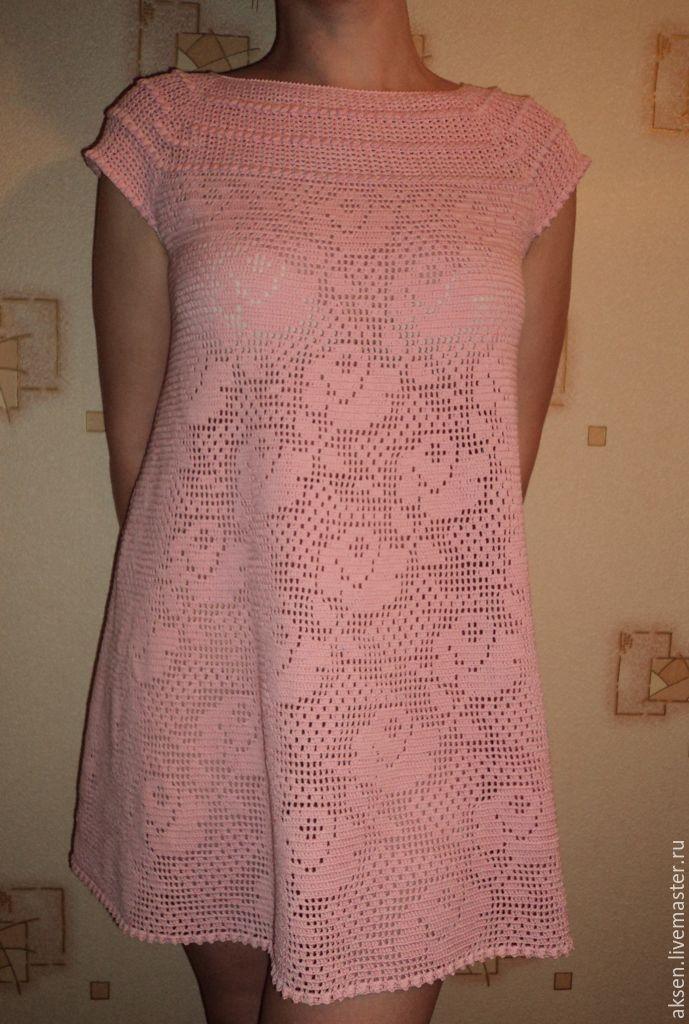 Вязанные платья крючком филейные