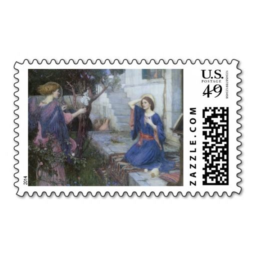 Annunciation by JW Waterhouse, Victorian Religious Stamp. This is customizable to put a personal touch on your mail. Add your photos or text to design your own stamp that can be sent through standard U.S. Mail. Just click the image to try it out!