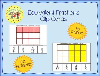 This hands-on activity builds mental regrouping skills in support of equivalent-fraction concepts (3.NF.A.1, 3.NF.A.3, 4.NF.A.1) Each card shows a partially-shaded rectangular figure along with 4 answer choices. Two of these choices are correct representations of the shaded figure, and the other two answers are incorrect representations. Students must fasten paper clips or clothes pins onto *both* correct answers. Thus, it takes *two* clips to answer each card.