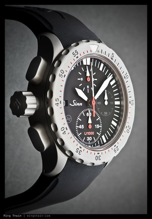 Sinn U1000S chronograph, Tegimented Submarine Steel case with TiAlCN PVD coating