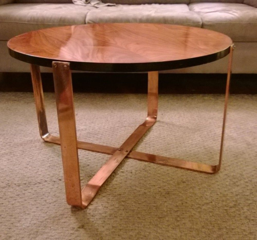 Round coffee table with copper legs DIY Pinterest