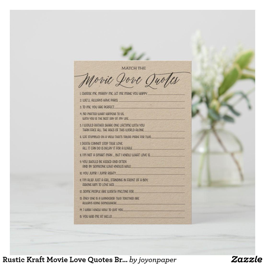 rustic kraft movie love quotes bridal shower game enclosure card
