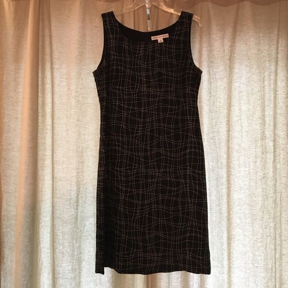 "Josephine Chaus Black/White Silk Dress Size 12, white stitch-like print, zipper back, dry clean only, lined 100% polyester, body 100% polyester, flat measurements: bust 18"", waist 17.5"", hip 20.5"" Josephine Chaus Dresses Midi"