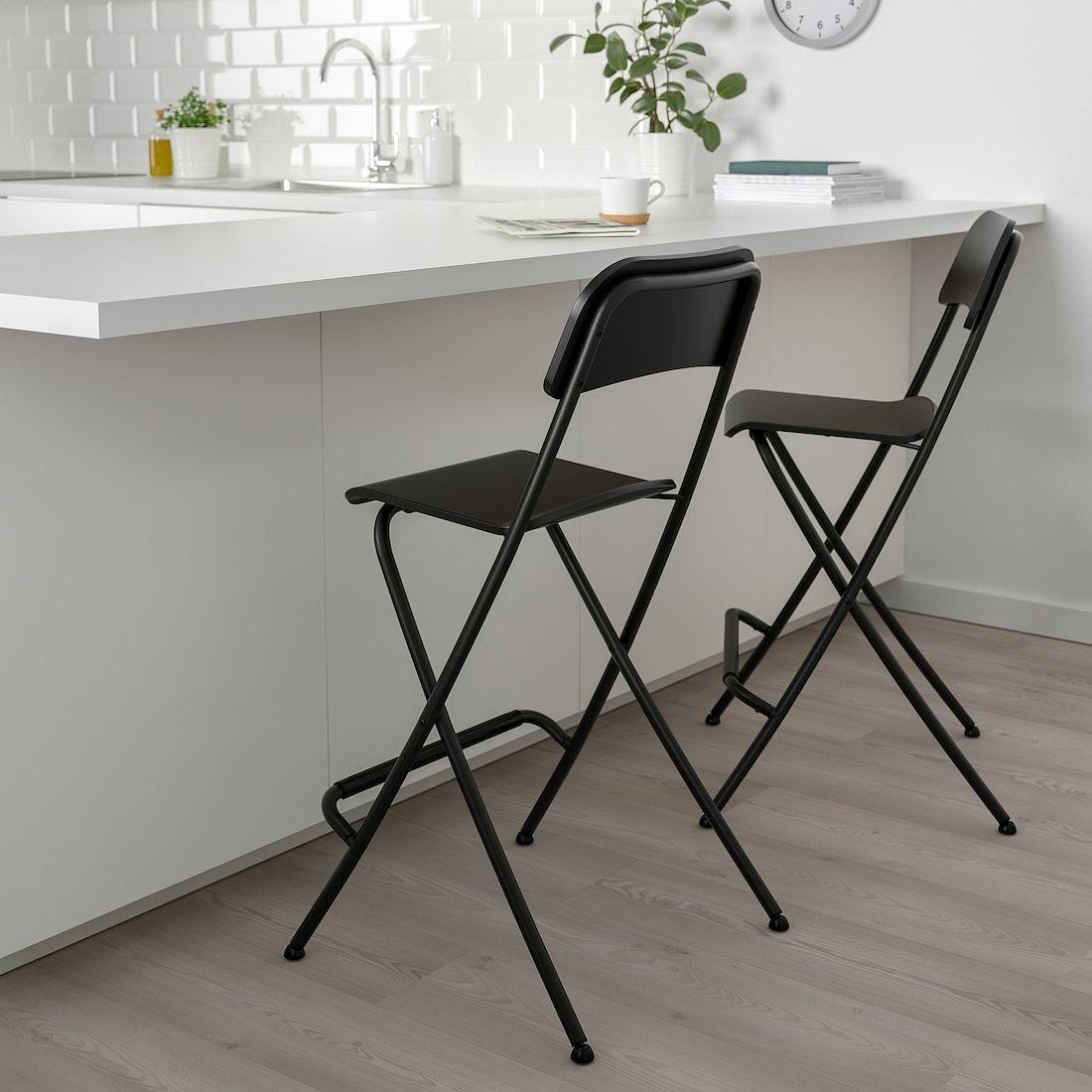 Franklin Bar Stool With Backrest Foldable Black Black Width 19 5 8 Find It Here Ikea In 2020 Foldable Bar Stools Folding Bar Stools Bar Stools