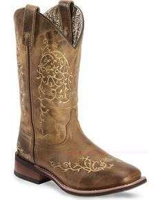 Laredo Ivy Cowgirl Boots - Square Toe, Taupe