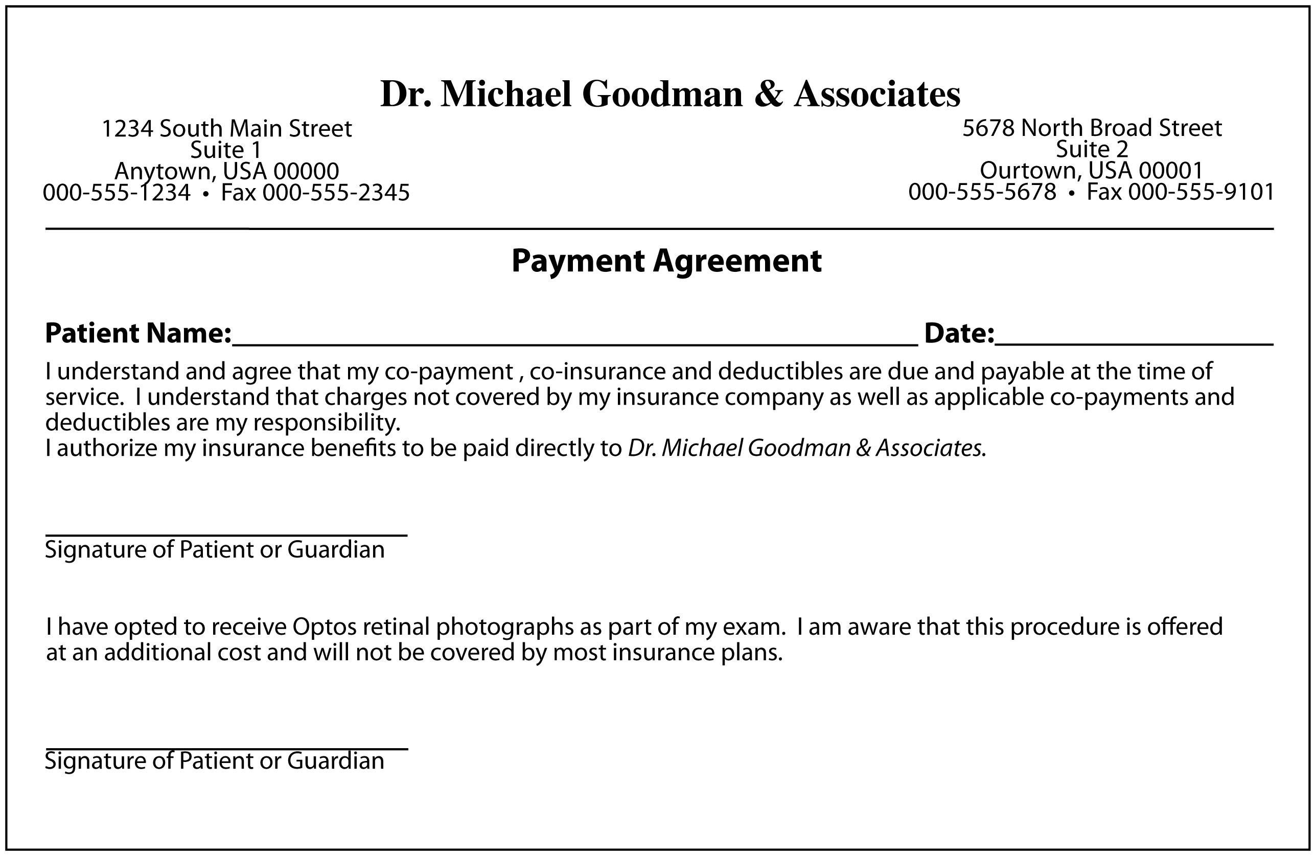 Notes Payable Agreement (installment options will based on