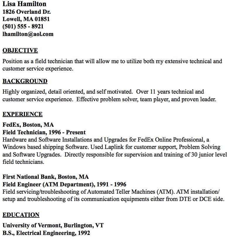 Example Of Field Technician Resume Resumesdesign Sample Resume Templates Resume Resume Design Template