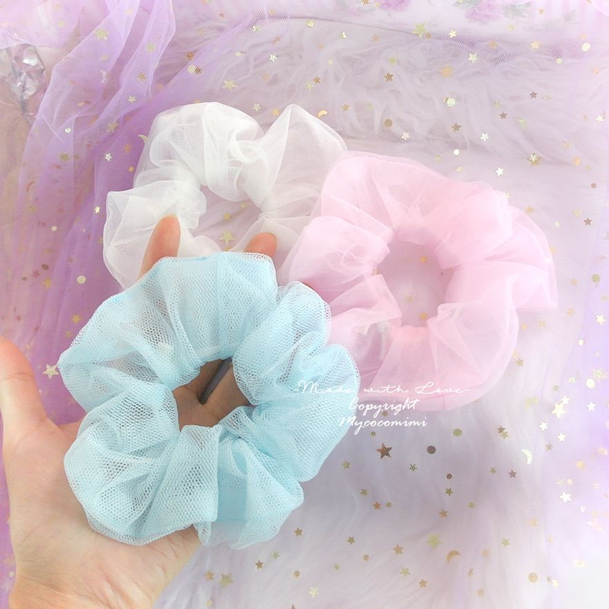 Pastel Soft Tulle Sheer Scrunchies, Baby Pink Blue White , Ponytail Hair Tie Accessories , DDLG Accessories Cute Kawaii - Mycocomimi