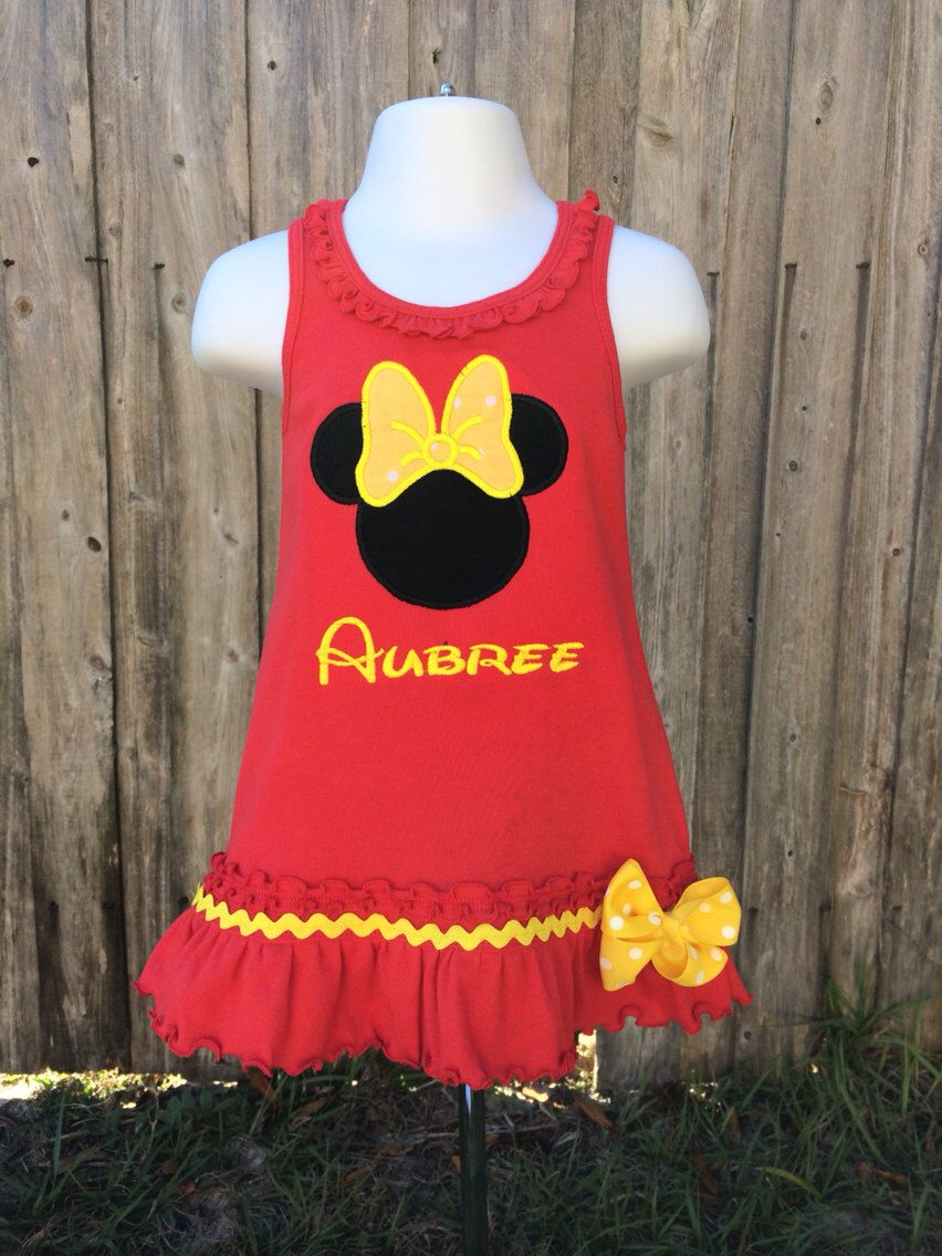 Minnie Mouse Personalized Dress - Personalized Minnie Dress - Personalized Minnie Mouse - Girl - Boy - Toddler - Baby by OurLilBowtique on Etsy https://www.etsy.com/listing/181072927/minnie-mouse-personalized-dress