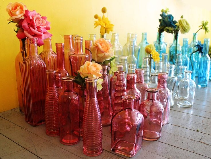 Glass Vases Vintage Colors Wedding