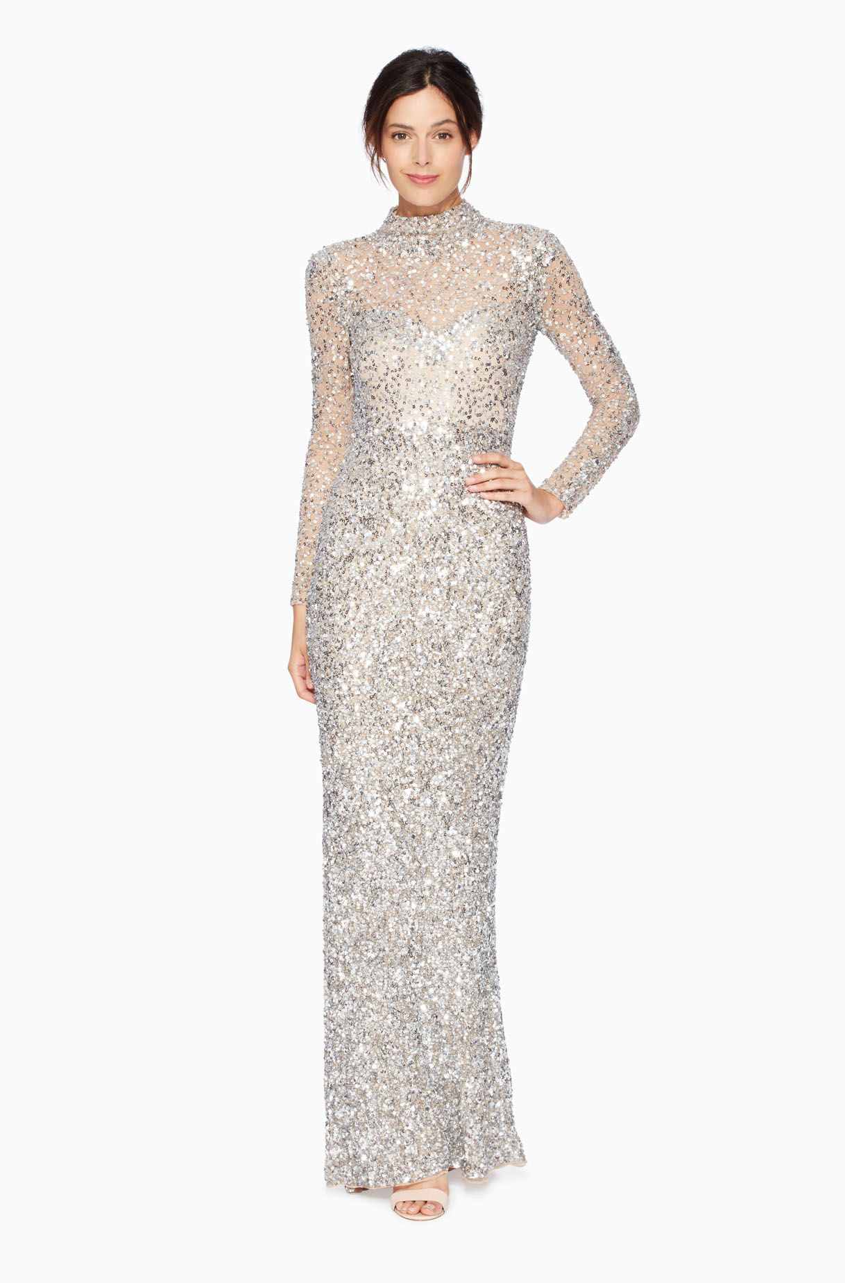 Parker sequin beaded high neck long sleeve Ronda Dress bridal gown ...