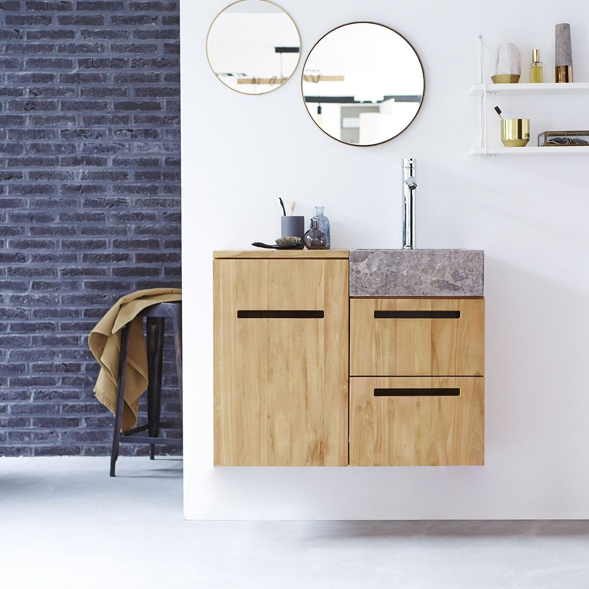 Line Teak And Marble Wash Unit 85 In 2020 Teak Bathroom Simple
