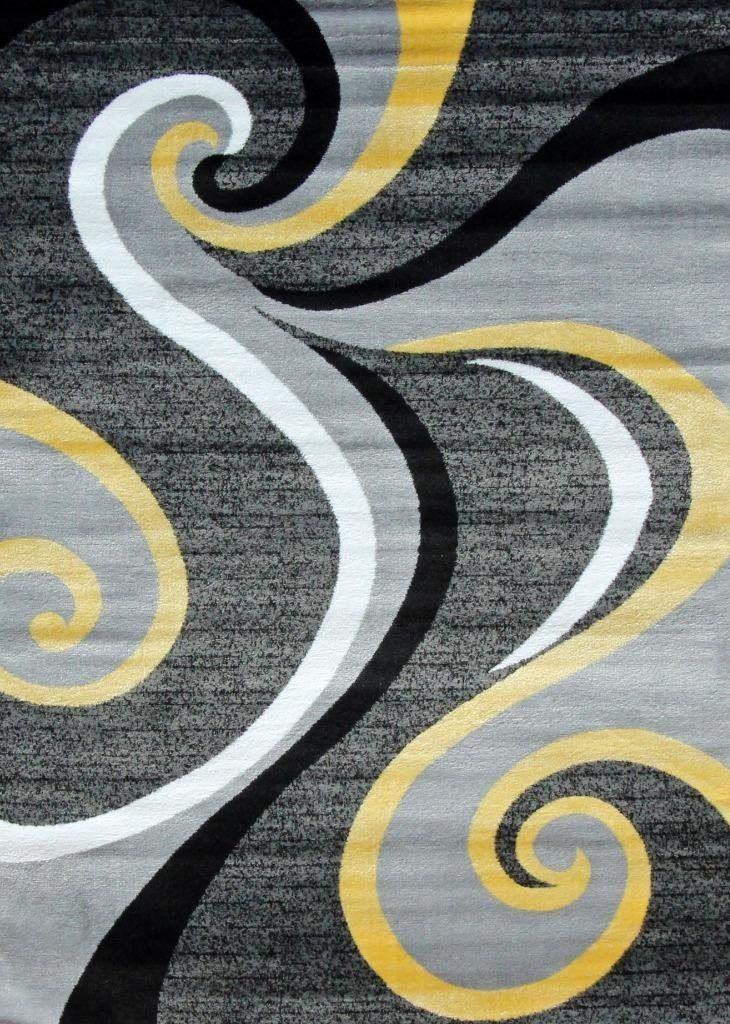 2984 Yellow Abstract Contemporary Area Rugs Contemporary