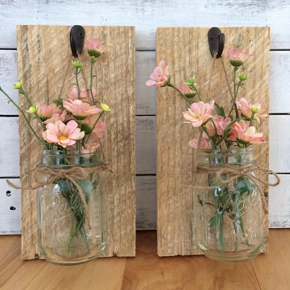 Hanging Mason Jar Sconces | Rustic Sconce | Candle Sconce | Matching Sconce | Wildflower Sconce | Hanging Mason Jars | Stained Wood Sconce #makeflowers