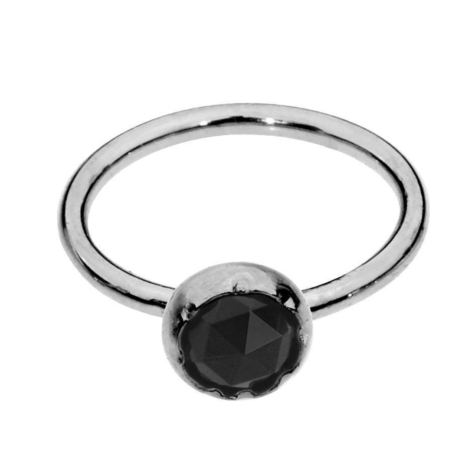 Nose piercing 6mm  Nose Ring  Tragus Earring  Sterling Silver  mm Black Onyx  HLT