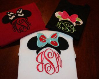 Infant and Toddler Disney Monogrammed Minnie and Mickey Mouse Ears Shirt or  Onesie