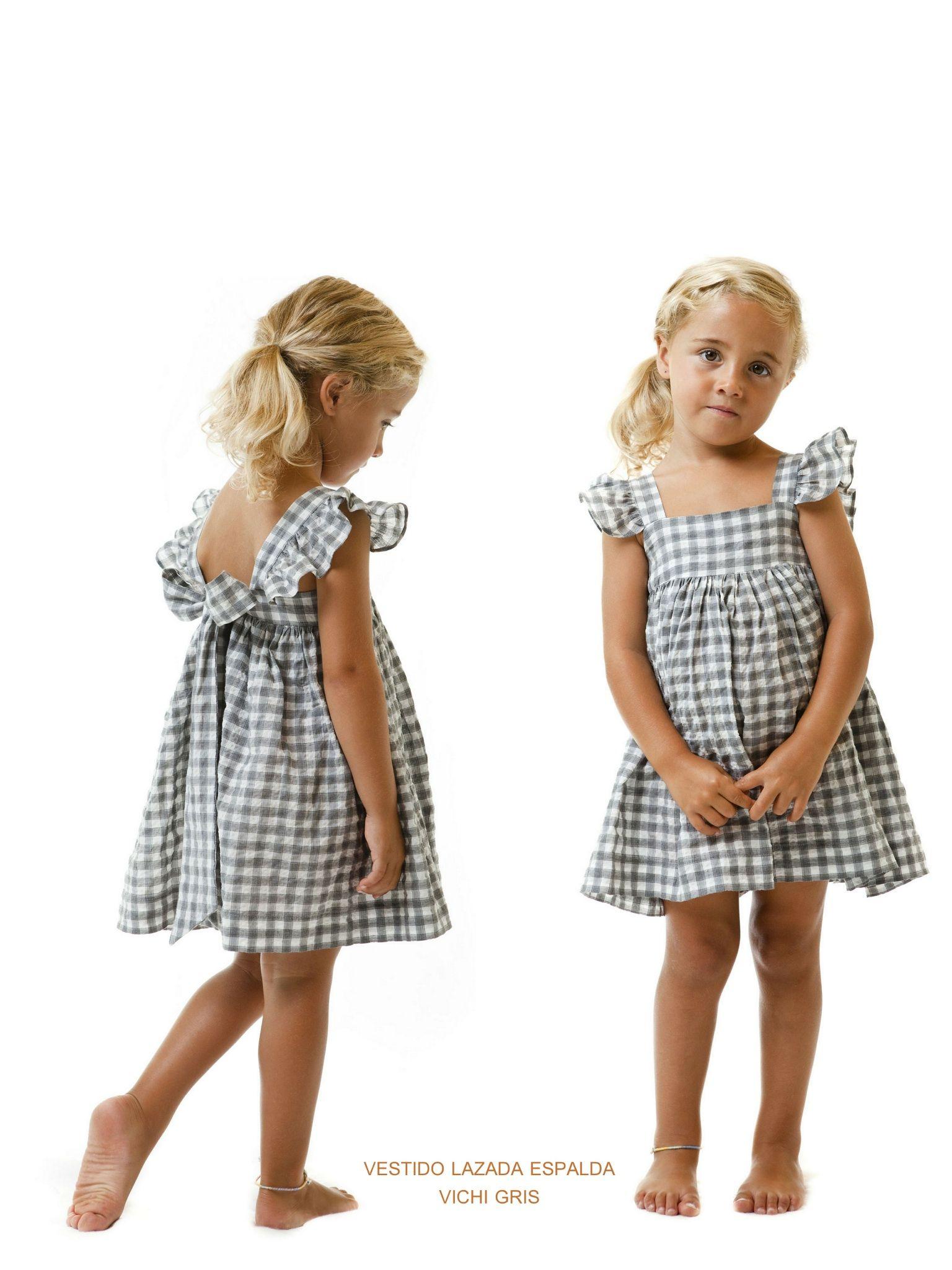 Vestido lazada espalda vichy gris | vestidos niñas | Pinterest | Nähen