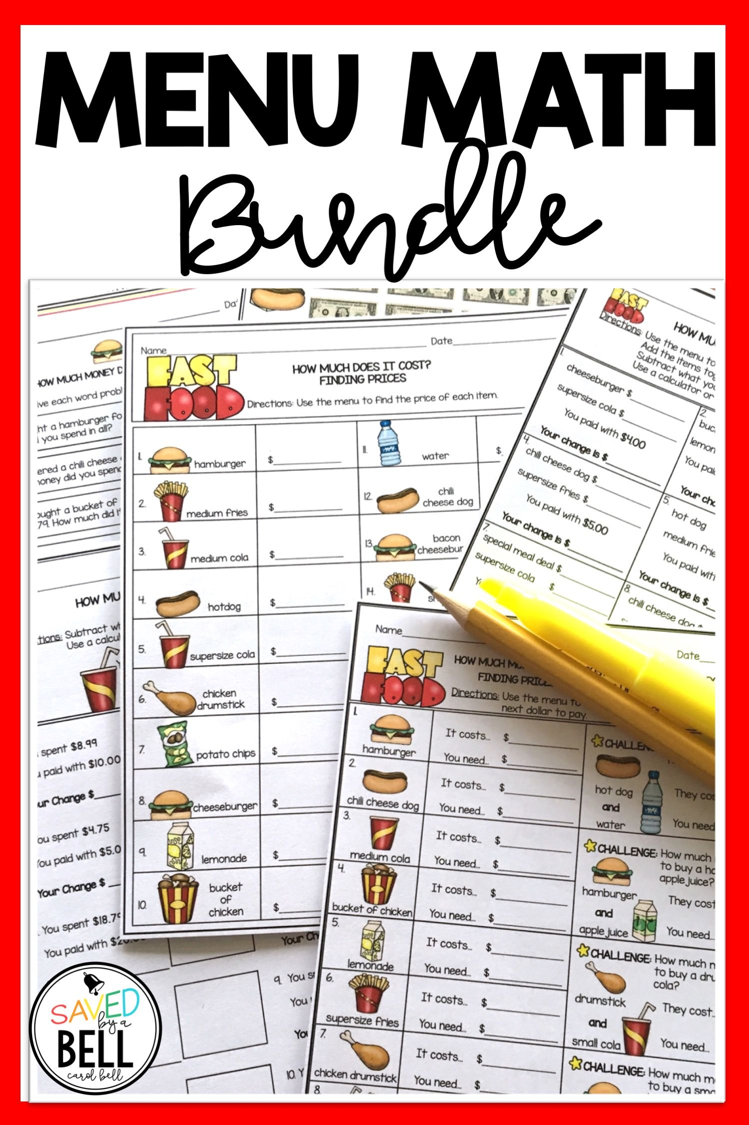 Money Worksheets And Word Problems Bundle Menu Math