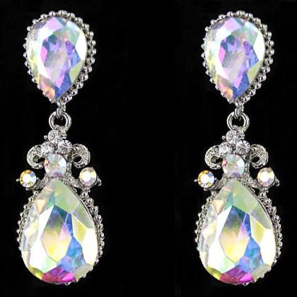 Iridescent Earrings With Teardrop Design Prom