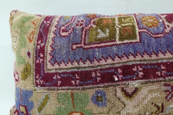 Floral Rug Pillow,Lumbar Pillow, Purple Rug Pillow Cover,Boho Pillow,Throw Pillow,12x24 inch,Organic