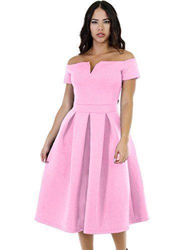760843667b Lalagen Women s Vintage 1950s Party Cocktail Wedding Swing Midi Dress Pink  XL