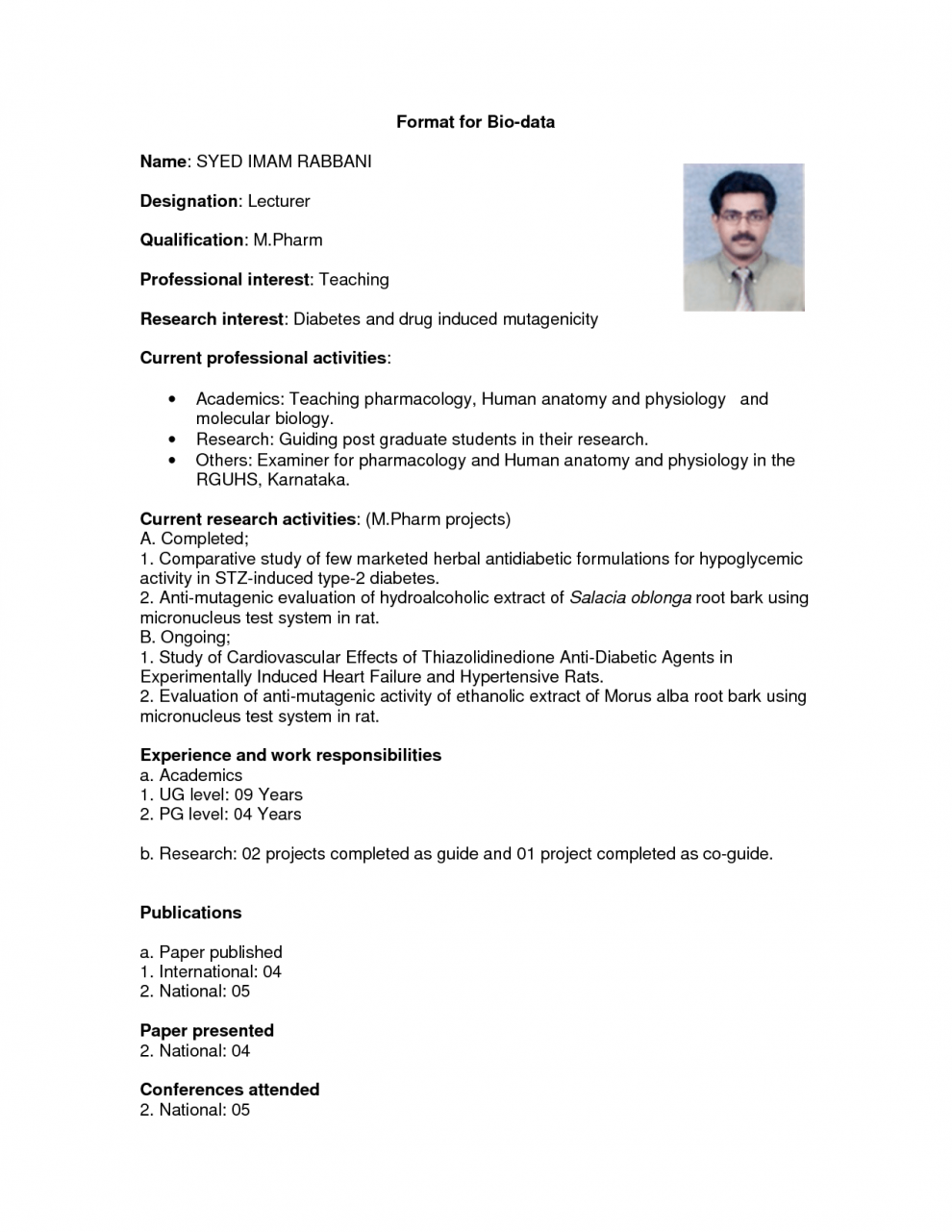 Image result for biodata in english format | Md.Habibullah khan ...