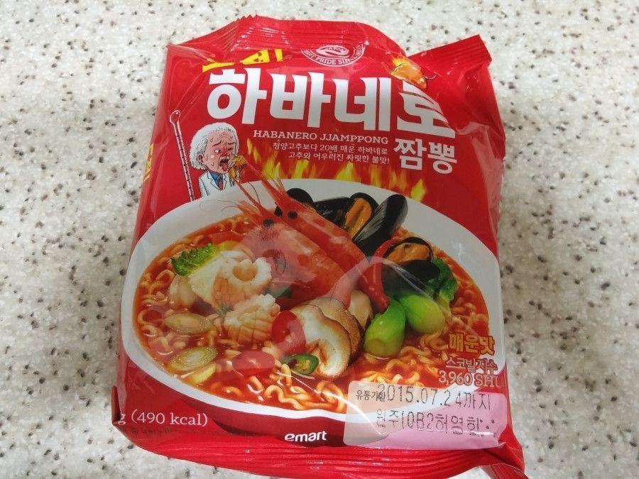 Hot Spicy Korean Instant Noodle CHALLENGE! HABANERO JJAMPPONG Ramen 3,7,10ea  #EMART