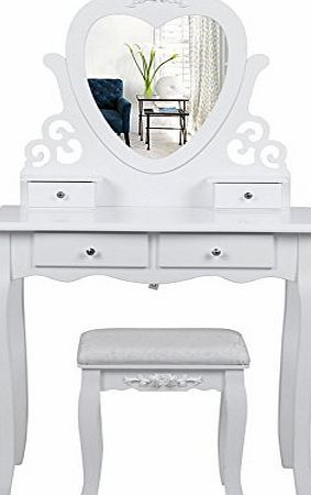 Vanity Dressing Table With Stool, Redstone Dressing Table With Stool And Mirror White