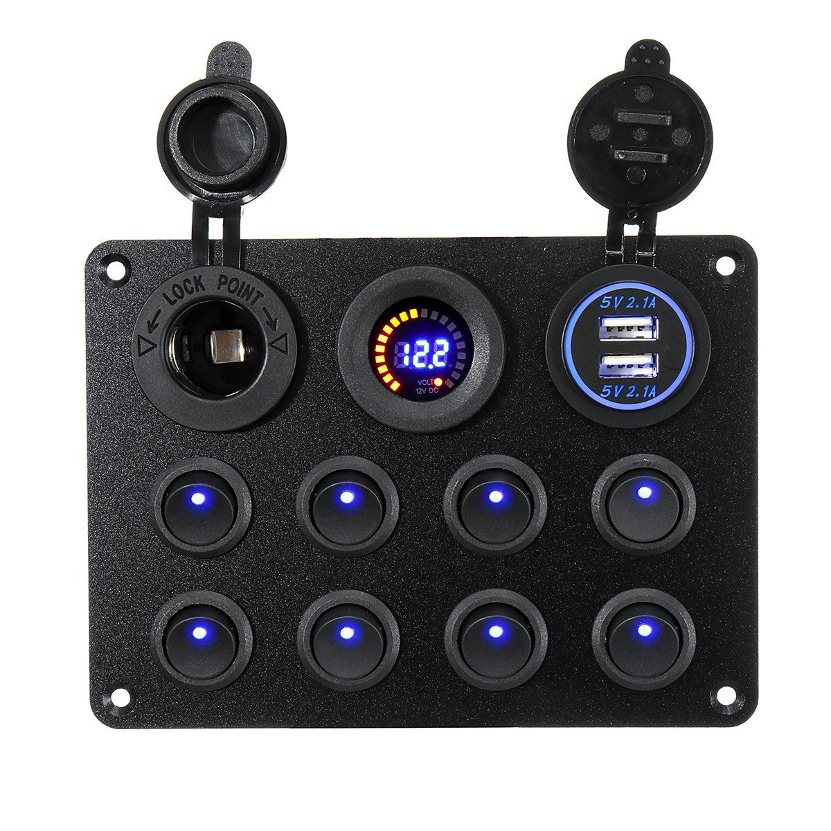 8 Gang Switch Panel 12V24V Toggles ON OFF USB Voltage
