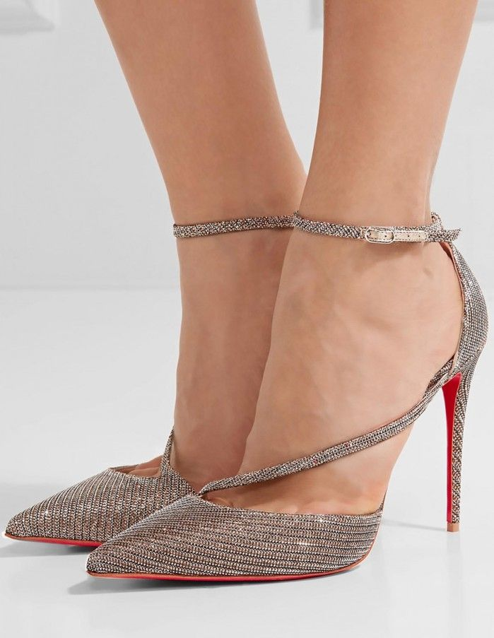 Fliketta 100 Glittered Canvas Pumps - Anthracite Christian Louboutin IdiVoSaGx