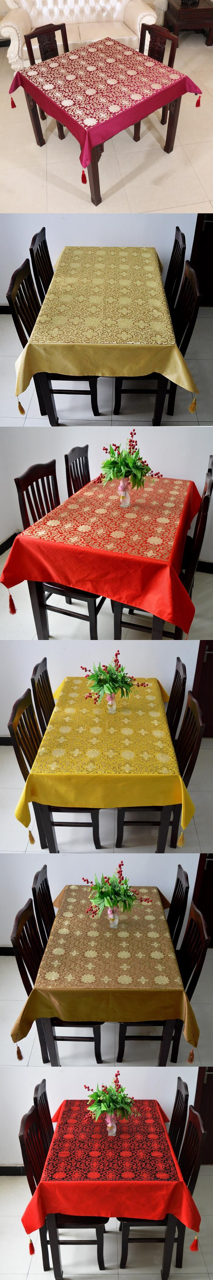 Mult Sizes Dobby Lucky Table Cloth High End Luxury Chinese Style - Decorative table pads