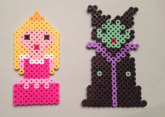 Disney Sleeping  Beauty Aurora and Maleficent Perler Beads  by SongbirdBeauty