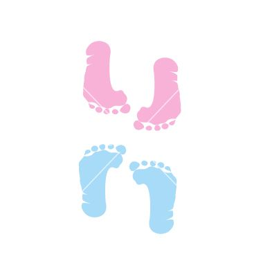 Footprint of girl and boy vector