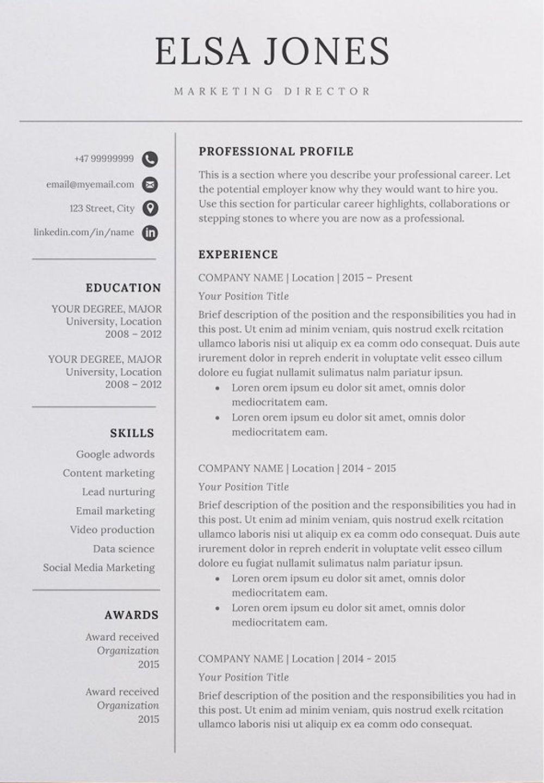 Resume Template / CV in 2020 Resume template, Resume