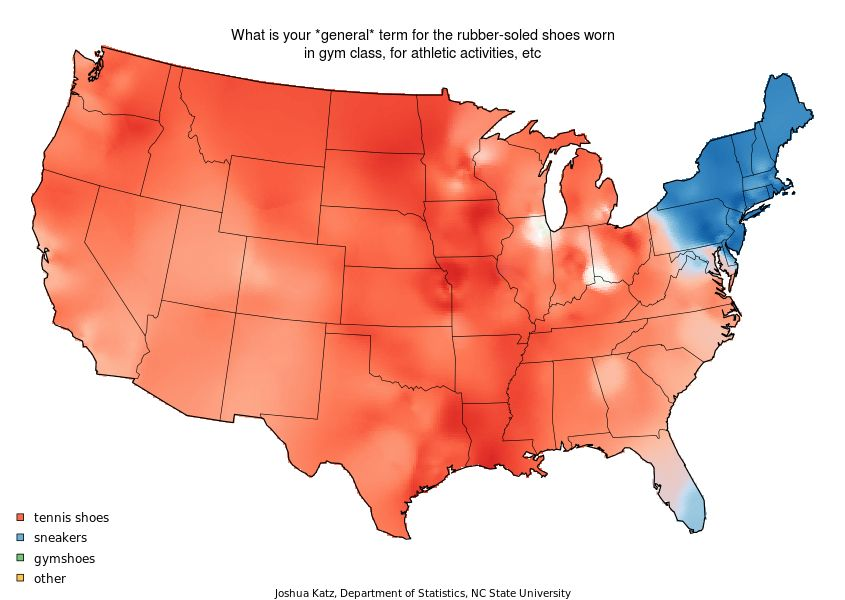 Maps of the US showing linguistic patterns