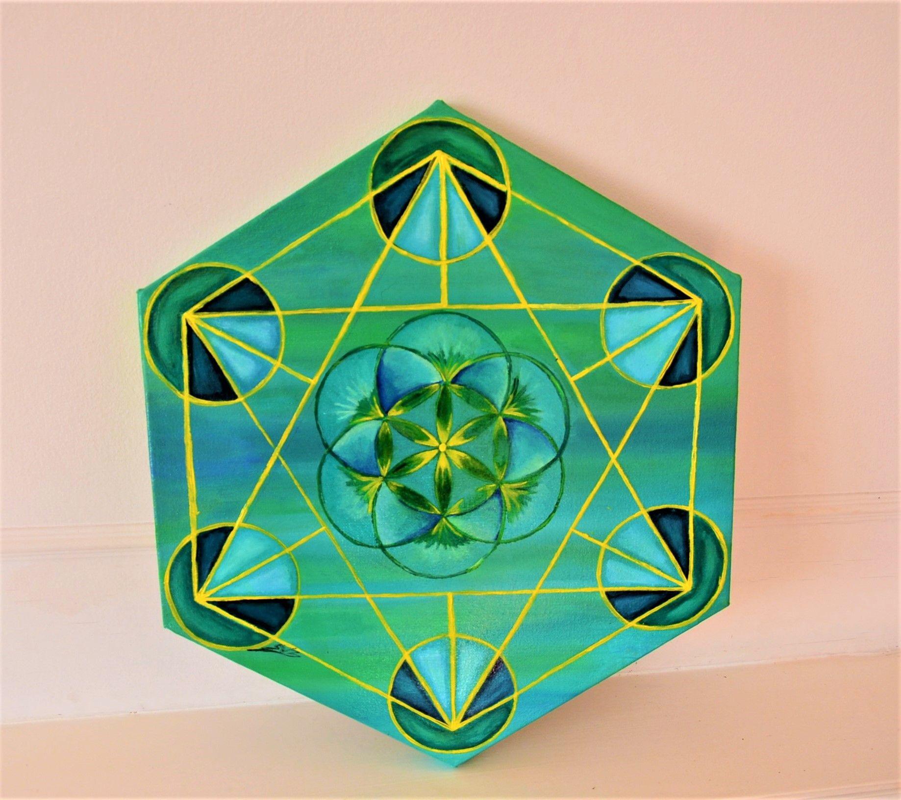 40cm x 40cm on canvas board acrylic sacredgeometry art