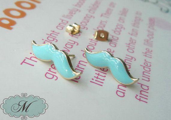 Tiny Seafoam Mustache Stud Earrings by Mathanalai on Etsy, $12.00