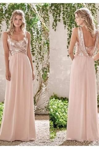 67c8724d0ce9 Rose Gold A-Line Spaghetti Straps Backless Sequins Chiffon Maid of Honor  Gowns