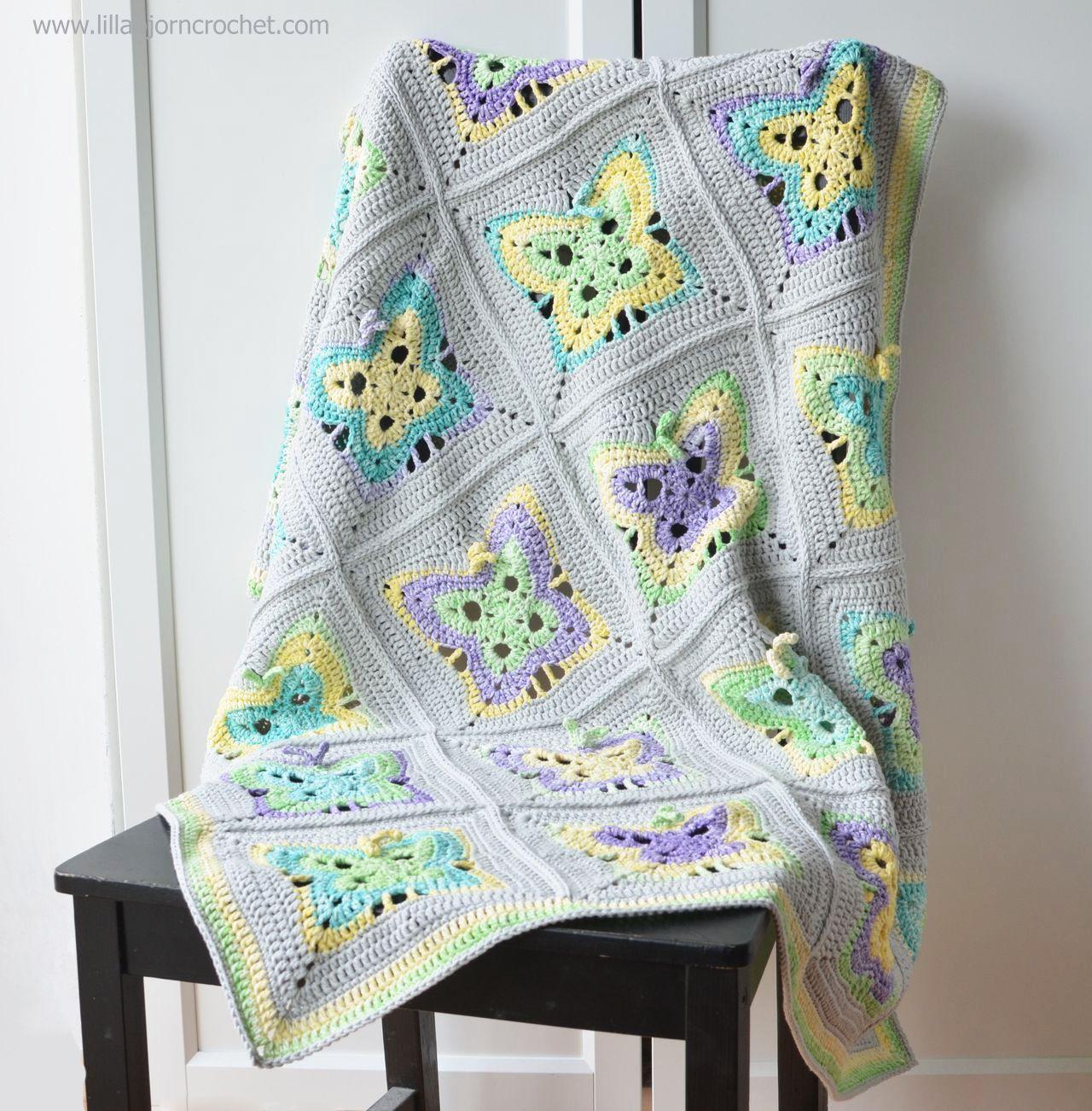 Moonlight Butterfly baby blanket. Crochet pattern by Lilla Bjorn ...